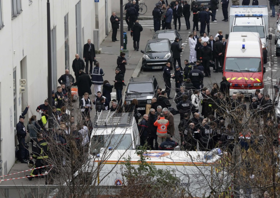 General view of police and rescue vehicles at the scene after a shooting at the Paris offices of Charlie Hebdo, a satirical newspaper