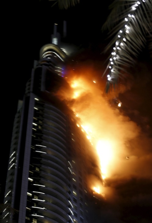 A fire engulfs The Address Hotel in downtown Dubai in the United Arab Emirates