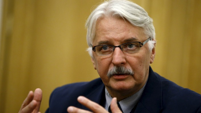 Poland's Foreign Minister Waszczykowski speaks during interview with Reuters in Warsaw