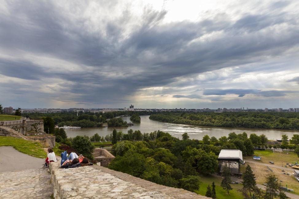 Serbia Belgrade New Belgrade View from Belgrade Fortress River delta of Sava and Danube river PU
