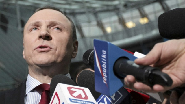 A newly appointed president of Polish Television (TVP) Jacek Kurski speaks to the press in Warsaw