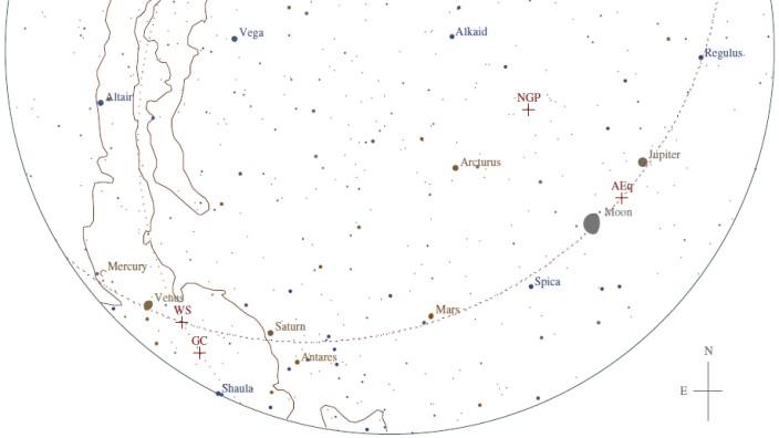 Astronomie: Sternenhimmel am 29.01.2016 um 7 Uhr morgens, Richtung Süden betrachtet