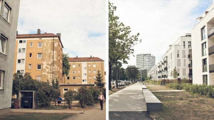 Zwei Wohnanlagen in München - die Mietpreisbremse zeigt langsam Wirkung.