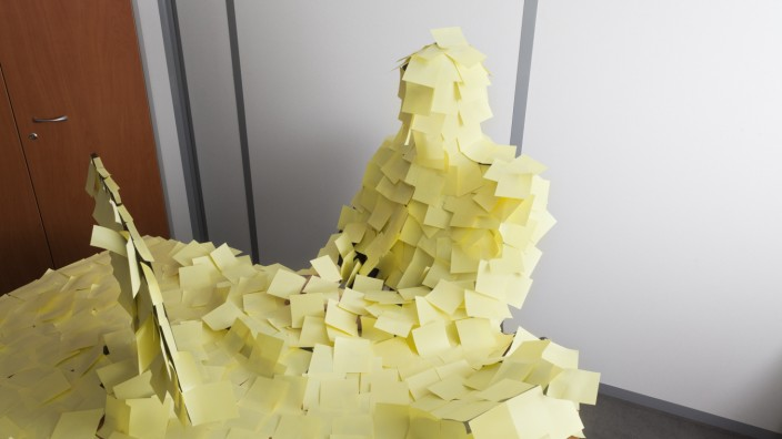 man covered by Post It