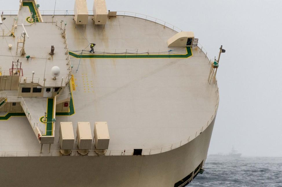 Stricken cargo ship 'Modern Express' is seen in the Atlantic Ocean off France