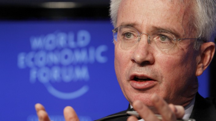 Group Chief Executive of Standard Chartered Bank Sands speaks during a plenary session at the WEF in Davos