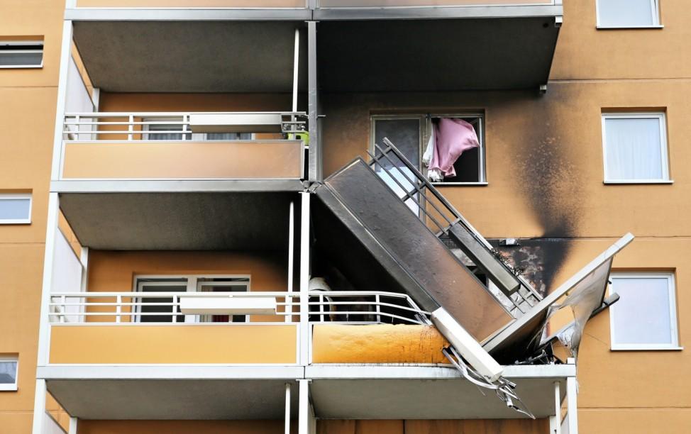 Balkon in Leipzig nach Wohnungsbrand abgerutscht