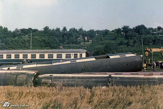 Unfallstelle des Eisenbahnunfalls bei Heilbronn-Klingenberg am 12. August 1984