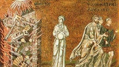 Ein Soziobiologe erklärt die Welt: Gott straft die Stadt Sodom. Mosaik aus dem 12. Jahrhundert im Dom von Monreal, Sizilien.
