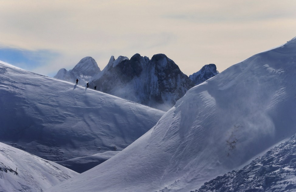 Wanderer in Winterlandschaft