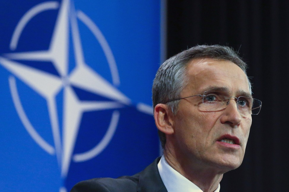 NATO Secretary-General Jens Stoltenberg holds a news conference ahead of a NATO defense ministers meeting in Brussels
