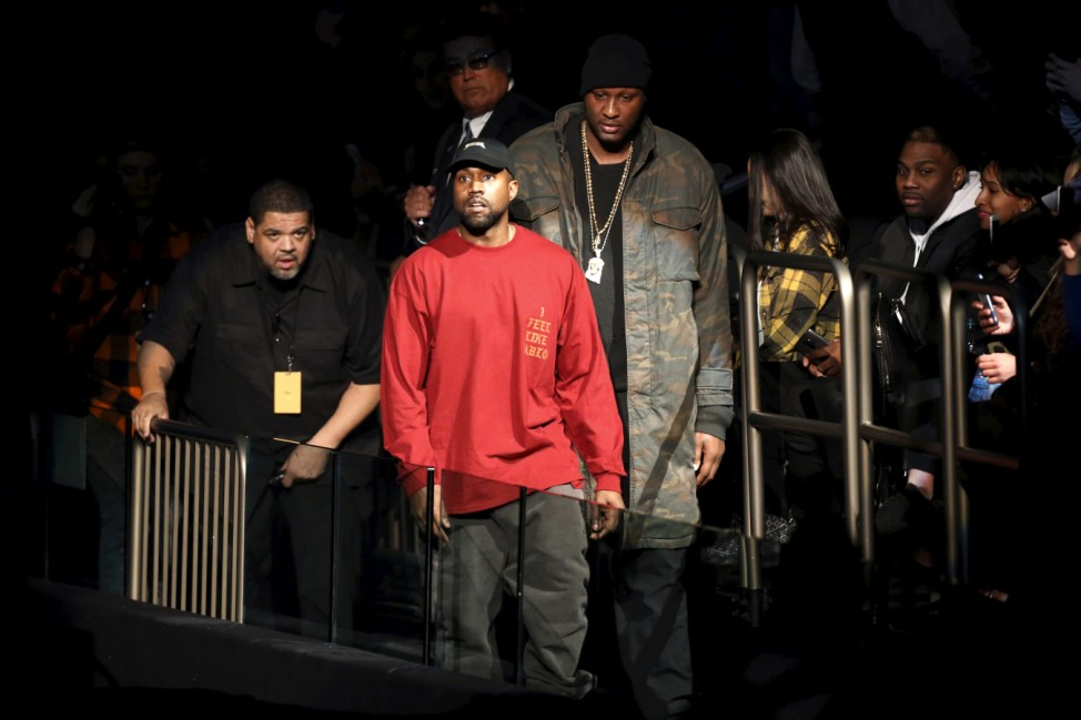 Kanye West and Lamar Odom arrive at Kanye West's Yeezy Season 3 presentation and listening party during New York Fashion Week