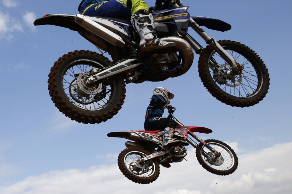 Riders practice during the launch of Israel's first official motocross course in Wingate Institute, IsraelâÄÖs National Centre for Physical Education and Sport, near Netanya