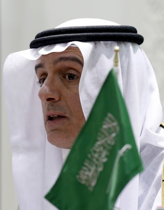 Saudi Arabia's Foreign Minister Adel al-Jubeir speaks during a joint news conference with German Foreign Minister Frank-Walter Steinmeier in Riyadh