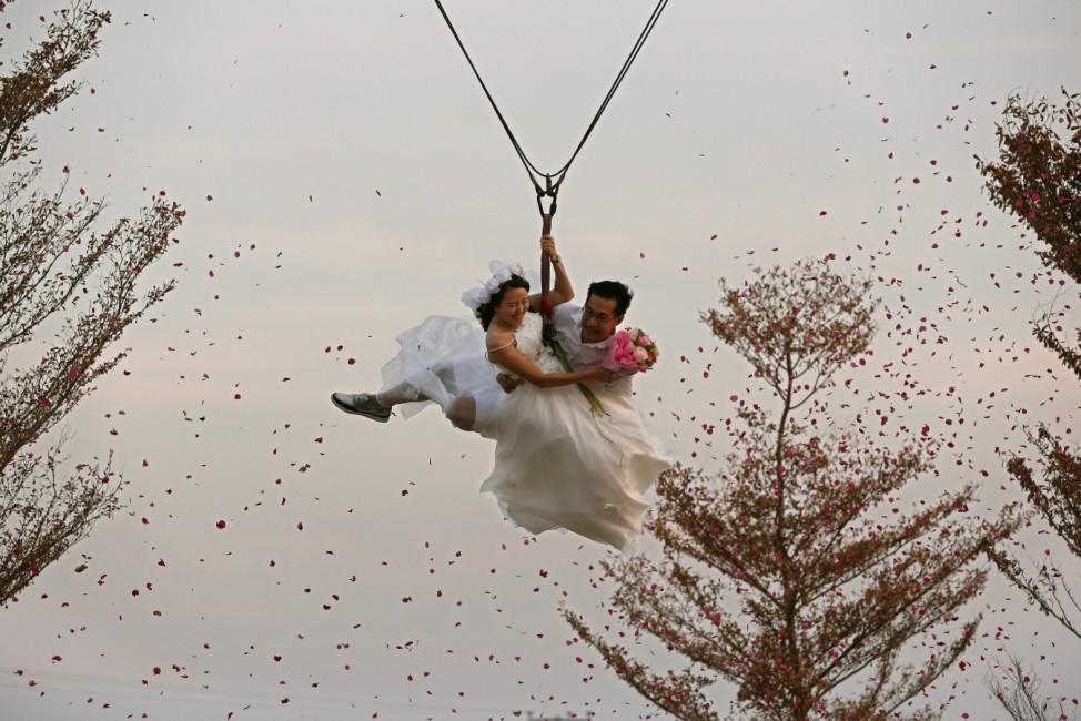Adventure challenge wedding ceremony to celebrate Valentine's Day