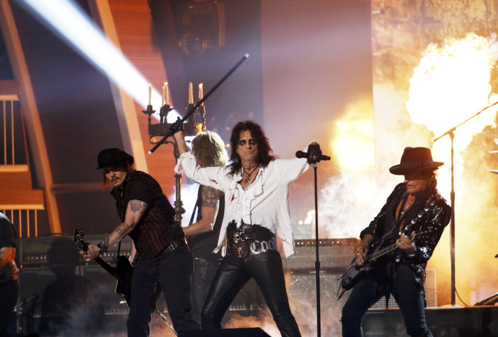 The Hollywood Vampires perform during the 58th Grammy Awards in Los Angeles