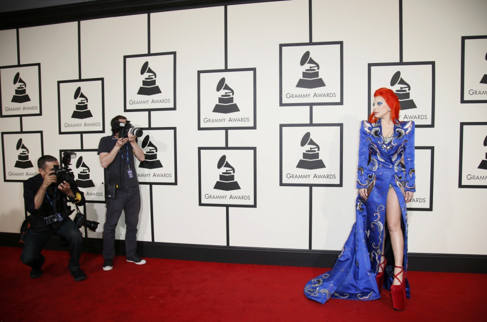 Lady Gaga arrives at the 58th Grammy Awards in Los Angeles