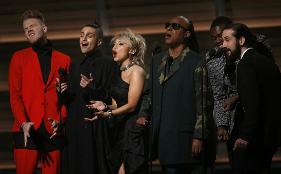 Wonder and Pentatonix perform 'That's the Way of the World' as a tribute to Earth Wind and Fire singer White at the 58th Grammy Awards in Los Angeles