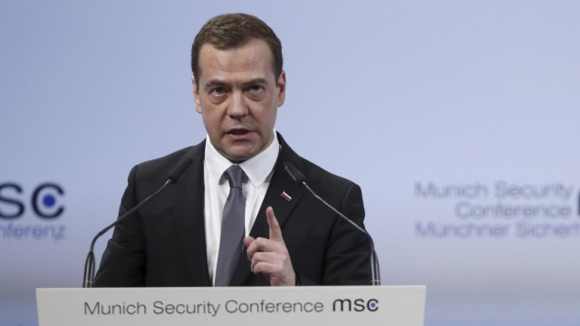 Russian PM Medvedev delivers speech at Munich Security Conference in Munich