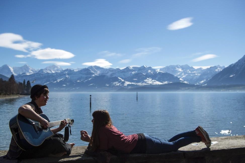 Sunne springlike weather in Switzerland