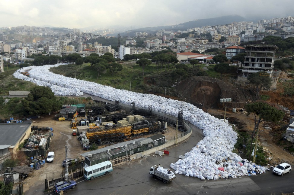 A general view shows packed garbage bags in Jdeideh, Beirut