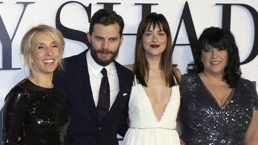 File photo of director Taylor-Johnson, cast members Dornan, Johnson and author James arriving for the British premiere of the movie 'Fifty Shades of Grey' in London