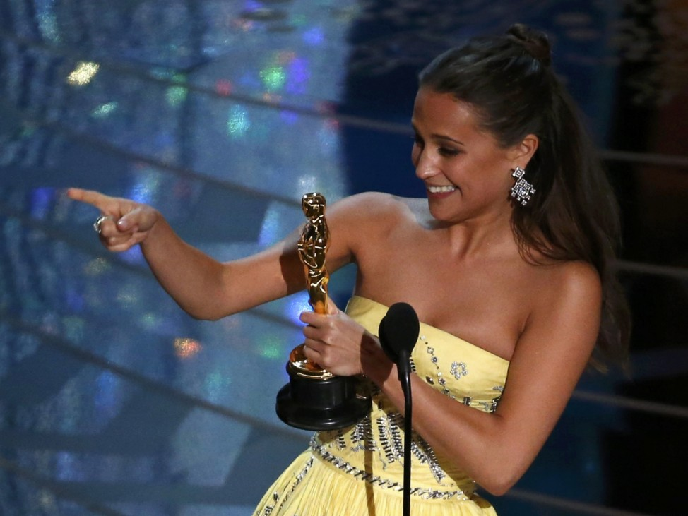 Alicia Vikander receives the Oscar for Best Supporting Actress for her role in 'The Danish Girl' at the 88th Academy Awards in Hollywood