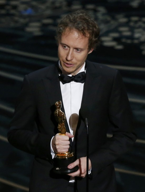 Director Laszlo Nemes of Hungary holds his Oscar for the Best Foreign Film for his movie 'Son of Saul' at the 88th Academy Awards in Hollywood
