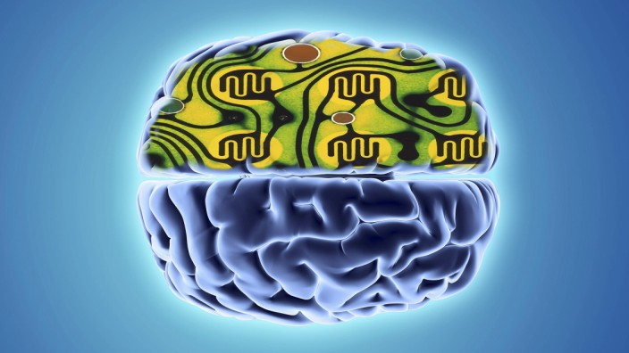 Artificial intelligence and cybernetics Artificial intelligence Abstract image of a human brain and