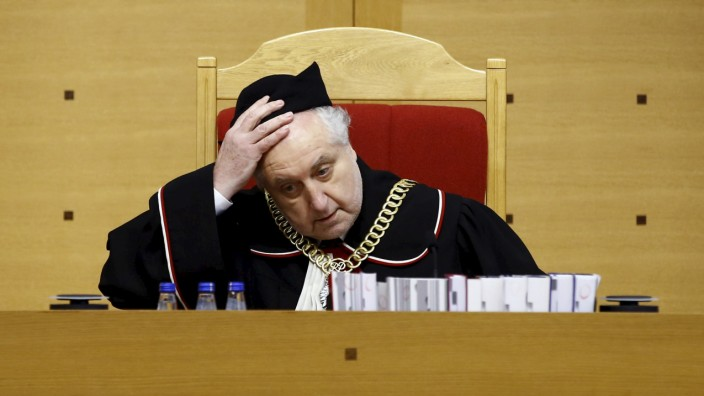 File photo of Rzeplinski, head of Poland's Constitutional Court, attending a session at the Constitutional Tribunal in Warsaw