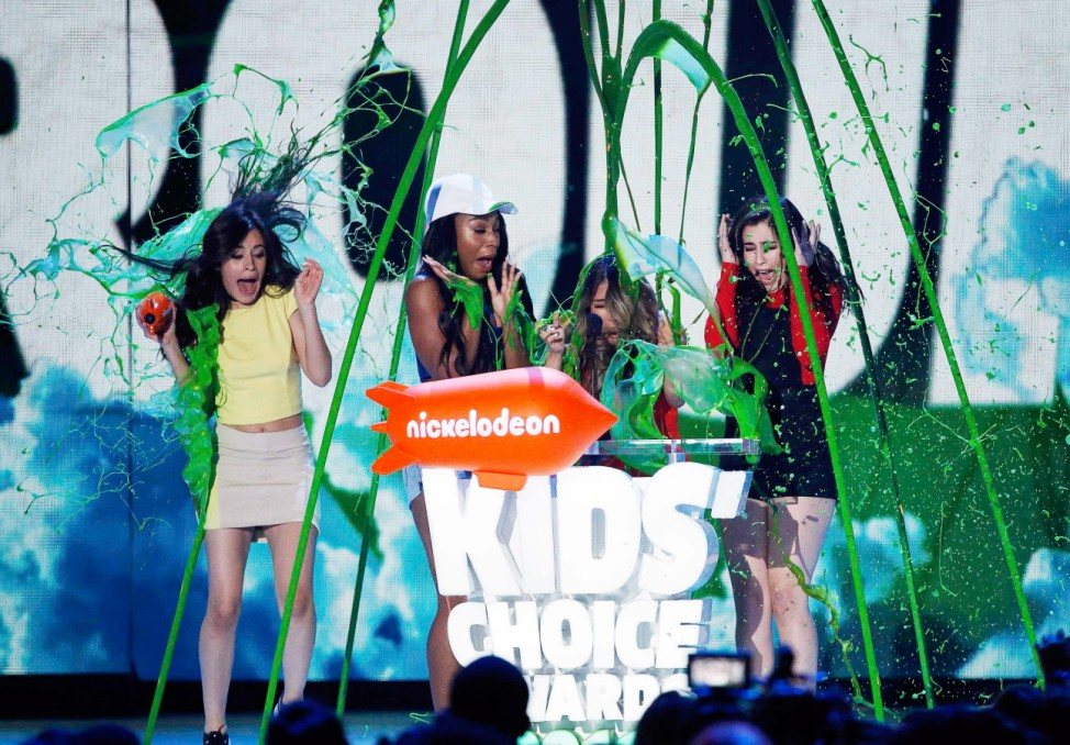 Fifth Harmony accepts their award during Nickelodeon's 2016 Kids' Choice Awards in Inglewood