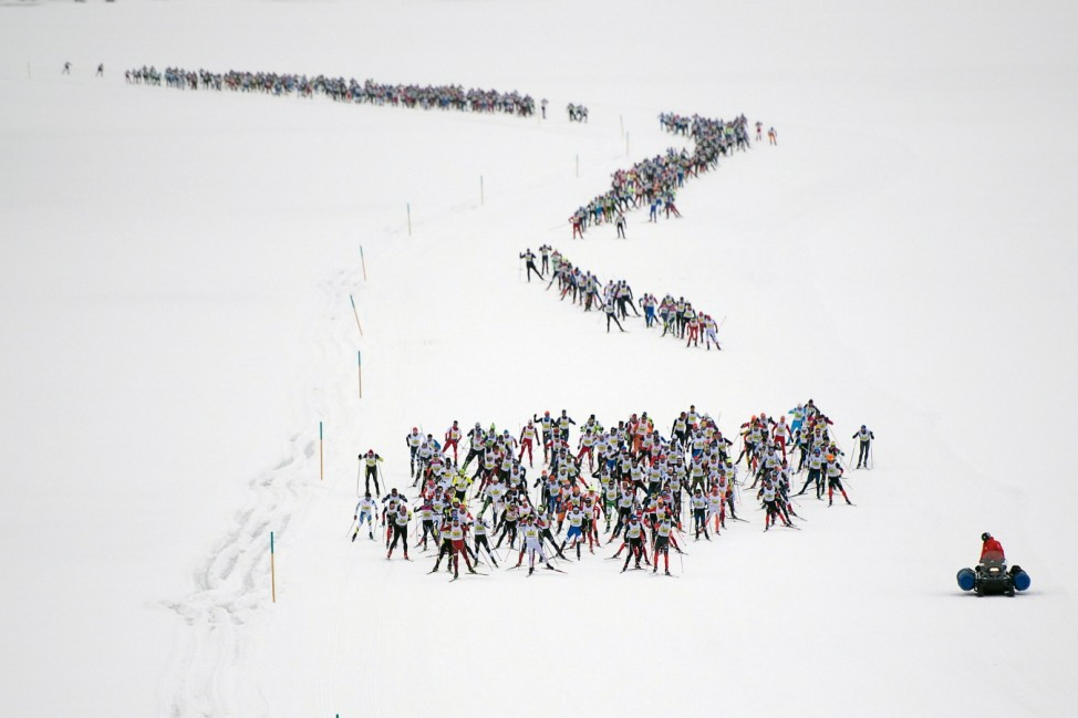 Annual Engadin skiing marathon in the Engadine Valley
