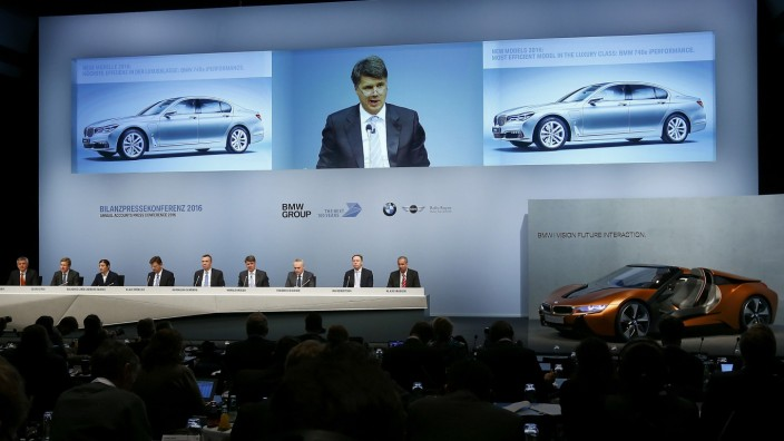 Krueger, Chief Executive of German luxury carmaker BMW addresses news conference in Munich