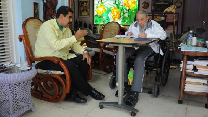 Nicolás Maduro und Fidel Castro in Havanna.