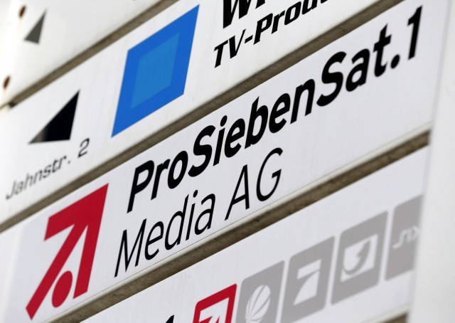 File photo of the logo of Germany's biggest commercial broadcaster ProSiebenSat.1 Media AG in Unterfoehring
