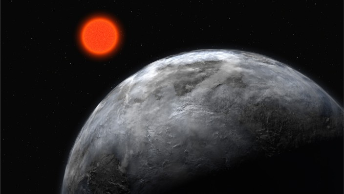 Artistic illustration realesed by the European Southern Observatory shows new planet known as Gliese 581 c orbiting a red dwarf star