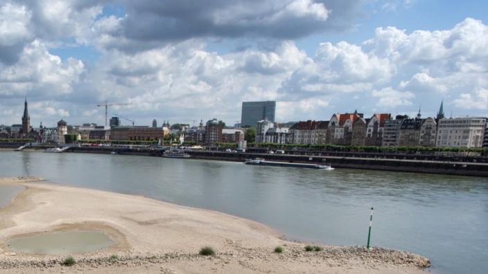 Trockenheit am Rhein in Düsseldorf