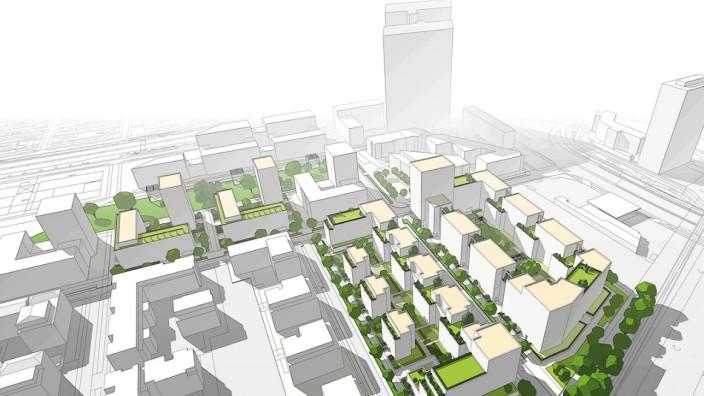 Ideenwettbewerb: Ein erstes Modell: Die Parkstadt soll ein Viertel für die Wohnbevölkerung werden, nicht nur für Werktätige. Simulation:Hilmer Sattler Architekten Ahlers Albrecht, München