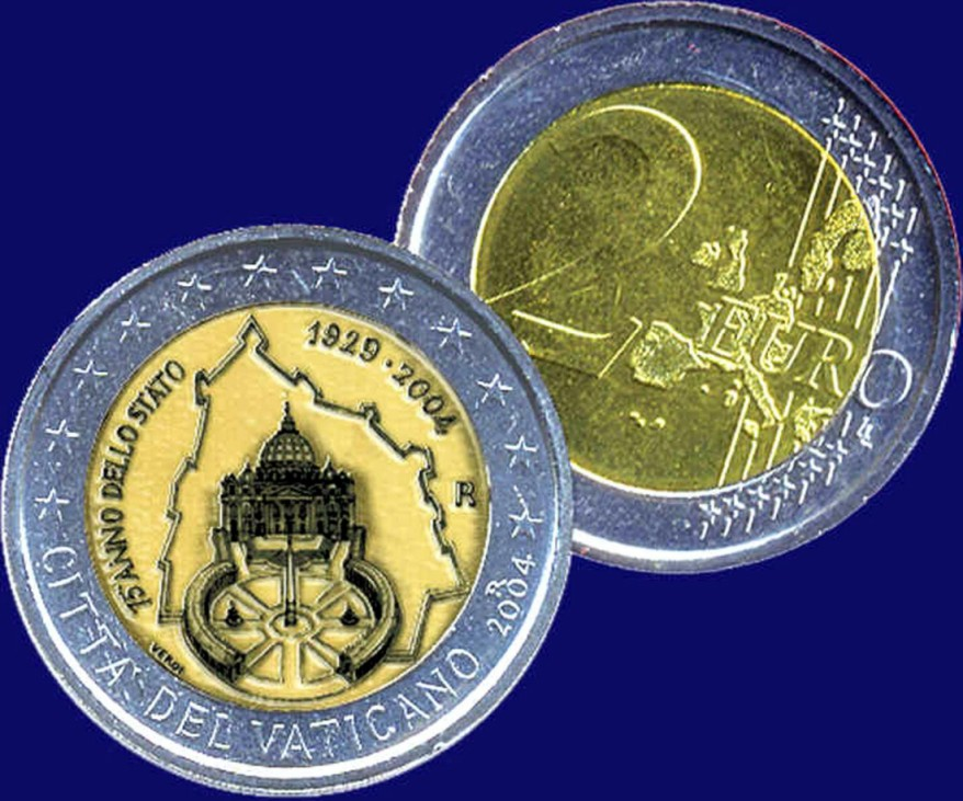 Euro-Münze zum 75-jährigen Bestehen des Vatikanstaats