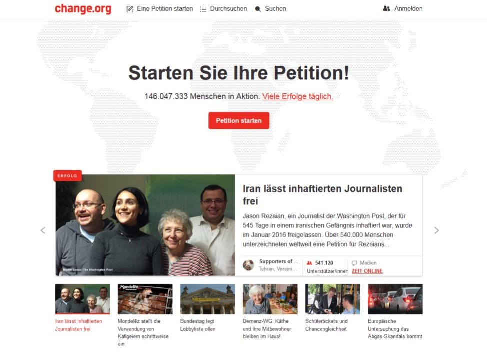 Screenshot der deutschen Website von Change.org