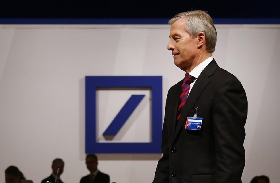 Fitschen, co-CEO of Deutsche Bank, walk before the bank's annual general meeting in Frankfurt