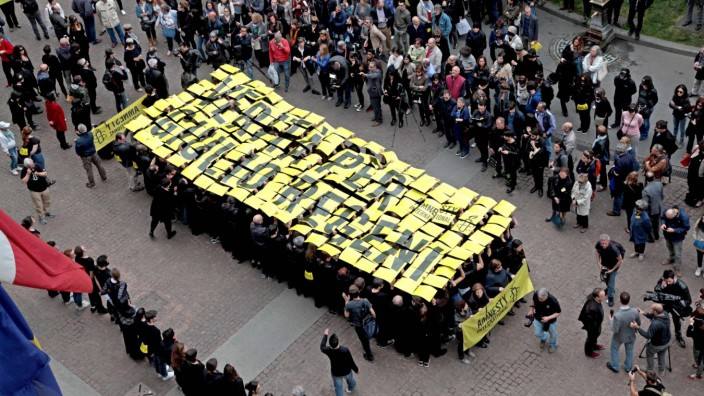 Protest action for murdered Italian student Giulio Regeni