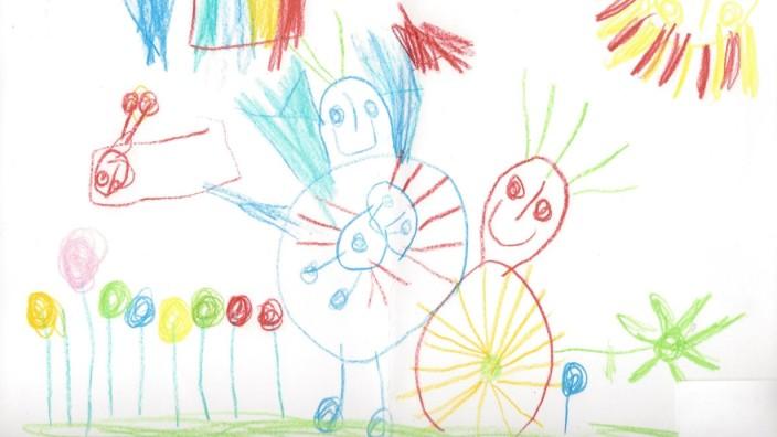 Familie: Clara Schneider ist sich sicher: Ihr ungeborener Zwillingsbruder ist auf dem Bild, das sie mit vier Jahren gemalt hat, zu sehen. Er schwebt links neben der erneut schwangeren Mutter, die Figur daneben soll sie selbst sein.