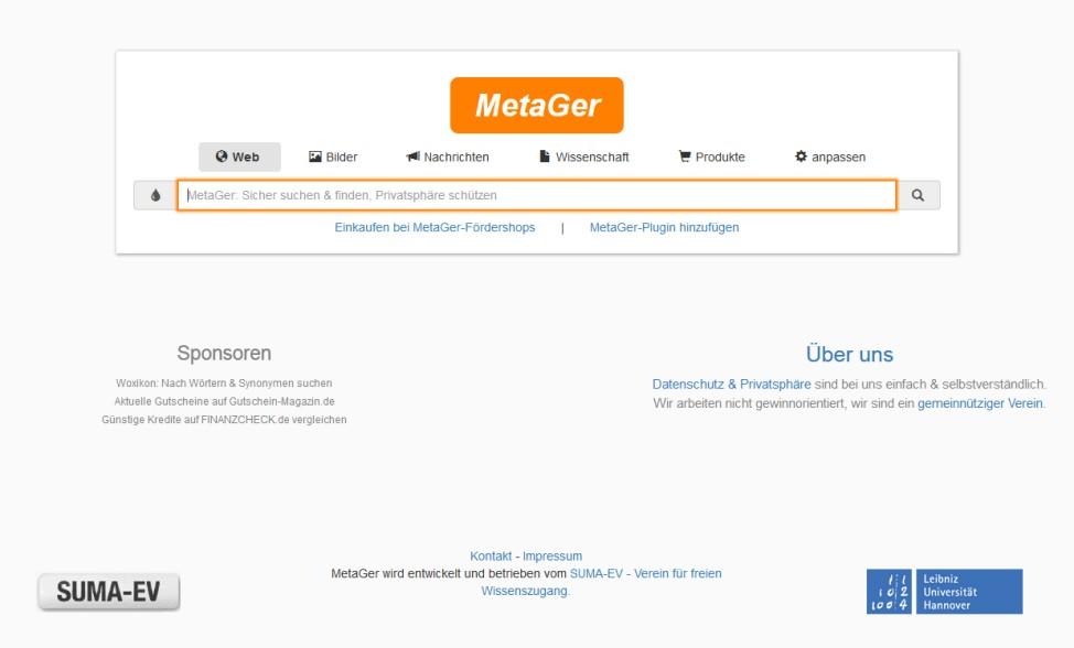 MetaGer Suchmaschine Screenshot