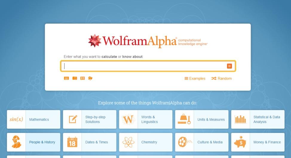 WolframAlpha Screenshot Suchmaschine