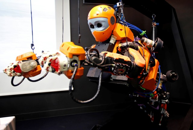 Humanoid Diving Robot OceanOne is seen during its presentation at the History Museum in Marseille
