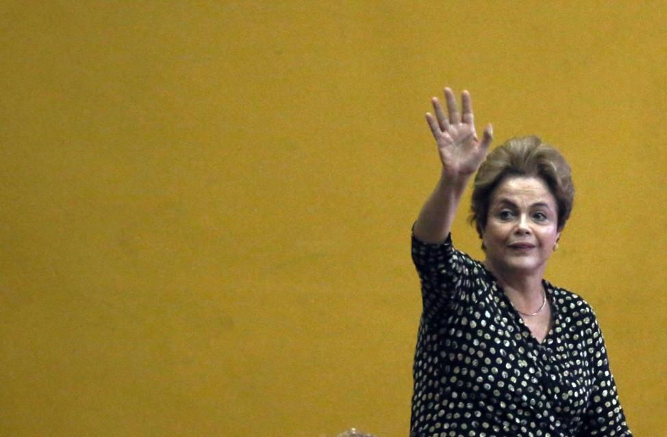 Embattled Brazilian President Dilma Rousseff Addresses Crowd In Brasilia