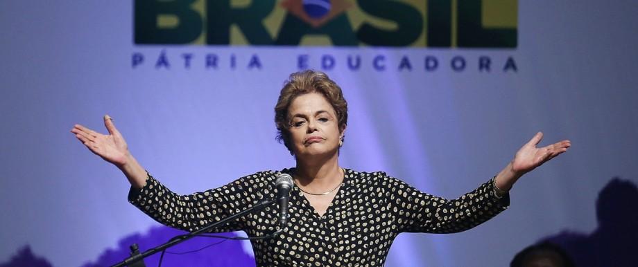 BESTPIX Embattled Brazilian President Dilma Rousseff Addresses Crowd In Brasilia