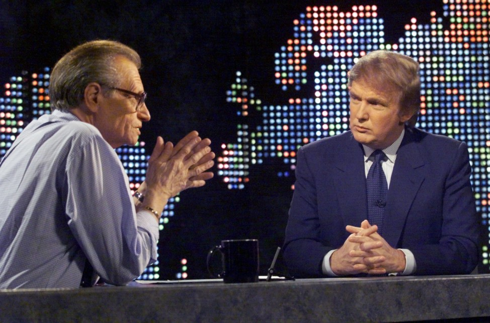 DONALD TRUMP DURING TAPING WITH CNN HOST LARRY KING.