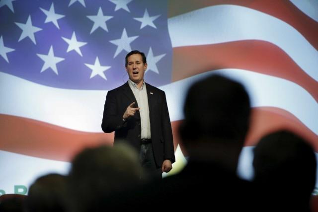 File photo of Republican U.S. presidential candidate Senator Rick Santorum speaking at the 10th Annual Iowa Renewable Fuels Summit in Altoona, Iowa